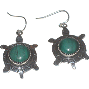 Vintage Native American Signed Malachite & Sterling Silver Turtle Tortoise Earrings