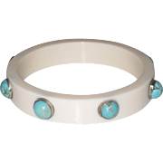 Stunning Creamy Lucite Bangle Embedded With Turquoise Stones
