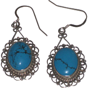 Vintage Brilliant Blue Turquoise Sterling Silver Filigree Earrings Mexico