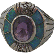 Beautiful Vintage Hopi Kokopelli Sterling Silver Amethyst and Opal Ring