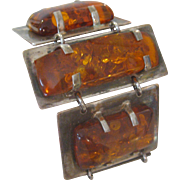 Massive Chunky Polished Baltic Amber & Sterling Silver Bracelet