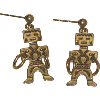 Vintage Native American Signed Kachina Dancers with Hoops Sterling Silver Earrings