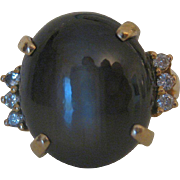 Stunning Vintage Black Star Sapphire & Diamond 14k Gold Ring