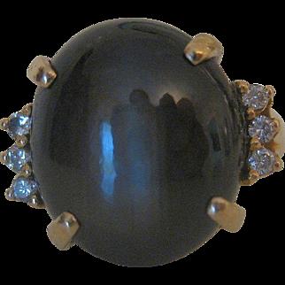 Stunning Vintage Black Star Sapphire & Diamond 14k Gold Ring