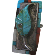 Signed Old Pawn Zuni Natural Hand Carved Turquoise Leaf Coral 925 Silver Ring size 5