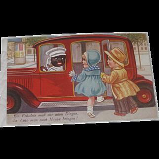 Black Americana German Amsterdam Post Card Cab Driver & Children 1930's
