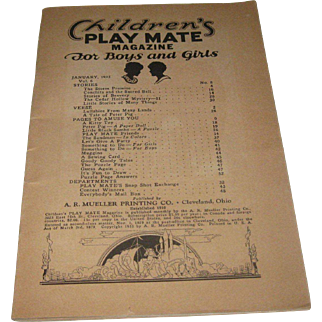 1935 Vintage-Children's Play Mate Magazine Little Black Sambo Paper-Dolls
