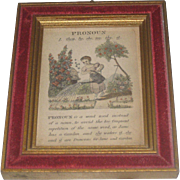 "Sweet Vintage Child's Verse Lithograph ""Pronoun"" with Velvet and Gilt Frame"