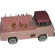 Vintage 1960's Nylint Kennels pink Ford Econoline pick up truck  with dogs
