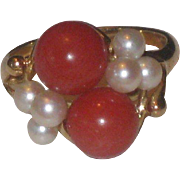 Stunning Deep Salmon Coral and Cultured Pearl Estate Ring 14k Yellow Gold