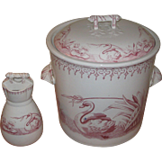 Large Aesthetic Swans Red Transferware Chamber Pot Pail with Lid & Toothbrush holder by Argyle EM & Co