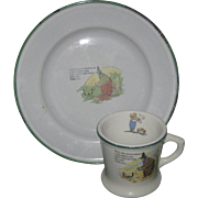 Adorable vintage White and Green Child's Cup & Plate Little Old Woman Sweden