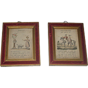 "Two Sweet Vintage Child's Verse Lithograph's ""Conjunction & Vowels"" with Velvet and Gilt Frame"