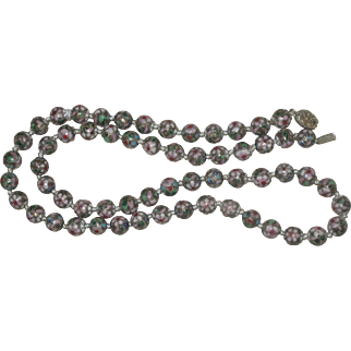 "Vintage Fine Chinese cloisonne necklace Shades of Lilac, Pinks Green 29.5"" Long"