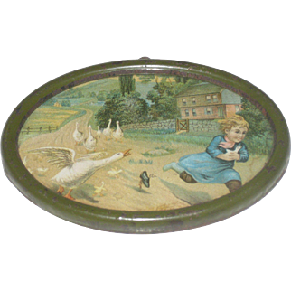 "Vintage Miniature Oval Metal Framed Lithograph ""Little Girl Chased by Geese"" Farm Scene"