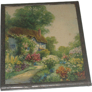 Charming Little Vintage English Cottage Garden Print in Metal Frame