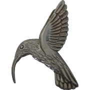 Stunning Large Taxco Sterling Silver Hummingbird Pin Brooch