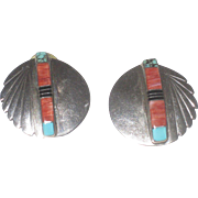 Stunning Native American Spiney Oyster & Turquoise, Inlaid Sterling Silver Earrings