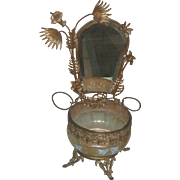 Antique French Gilt Aesthetic Design Shaving Stand with Frosted Glass Bowl Hand painted Flowers and Butterfly