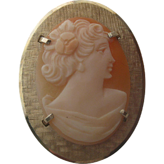 Vintage Art Deco Signed Kremetz Carved Lady Cameo Shell Brooch Pendant