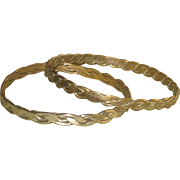 Pair of Vintage Sterling Silver Taxco Bangle Bracelets