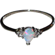 Sweet Vintage Platinum Opal and Diamond Ring