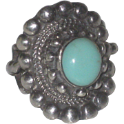 Vintage Robin's Egg Blue Turquoise and Sterling Silver Ornate Tribal Ring