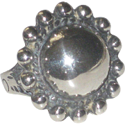 Vintage Sterling Silver Southwestern Navajo Ball Bead Ring size 6 1/4