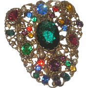 Vintage Art Nouveau Faux Pearl & Colorful Rhinestone Filigree Dress Fur Clip