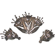 Vintage Silver Flowers Brooch Pin & Earrings Screw On Set Mexico