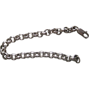 Men's Vintage 925 sterling silver 20 grams Heavy Rolled Link bracelet 8""