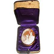 Antique Cameo Scene Woman and Boy 14k gold in original Jewelers Box N.Y.