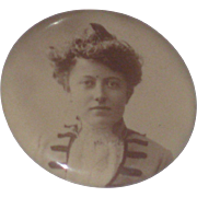 Late 1800's Photo Button Pin Lady in Victorian Dress Made by Sylvo Art Co Chicago