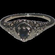 Lovely 14k White gold Art Deco Filigree Ring with Deep Blue Sapphire