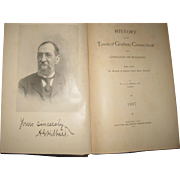 """RARE Antique Book """"The History of Goshen"""" Connecticut signed 1897 Genealogies"""