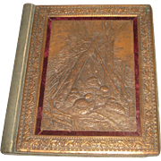 Antique 1800's Embossed Copper Cover with birds Scrap Book Memory Photo Album with Noteworthy Magazine Photos