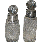 Antique Cut Crystal Sterling Silver Perfume Bottle Set Sheffield England signed JR