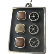 Vintage Mid Century Modern R. TENN Tennesmed sigend Pewter & Clay Pendant