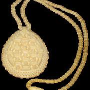 Vintage Large Ornate Carved Bone Pendant Necklace with Barrel Clasp