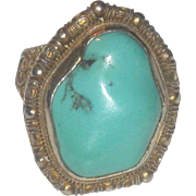 Stunning Vintage Chinese Export Ring Turquoise & Silver with Gilt Vermeil