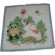 Vintage Child's Handkerchief Hankie Circus Elephant & Panda Bear Colorful & Cute!
