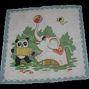 Vintage Child's Handkerchief Hankie Circus Elephant & Panda Bear Colorful & Cute!
