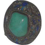 Gorgeous Chinese Export Turquoise & Enamels Silver Ring