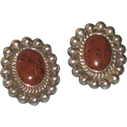 Vintage Taxco Petrified Wood & Sterling Silver Ball Trim Clip Back Earrings