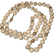 Gorgeous Vintage Lace Agate & 14k Gold Bead Necklace with Ornate Gold Clasp