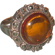 Vintage Baltic Amber Sterling Silver and Marcasite Ring size 7.5