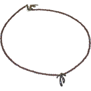 Vintage Cecile Jeanne Paris Amethyst Crystals Necklace With Original Bag, Dove Logo