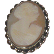 Vintage Art Deco Lady Cameo Pin / Brooch Shell Cameo 10k Gold Filled