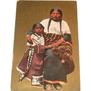 Squaw & Child Native American Vintage Postcard Embossed Gilt 1909 Iowa