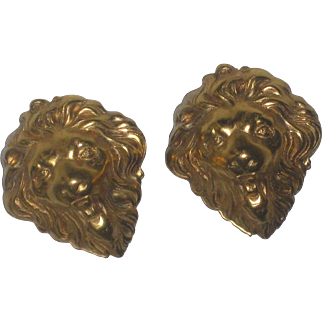 Gorgeous Vintage Classic Gold Tone Lion Clip on Statement Earrings